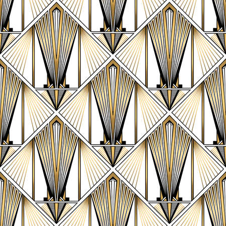 Art Deco Pattern. Vector gold black white background