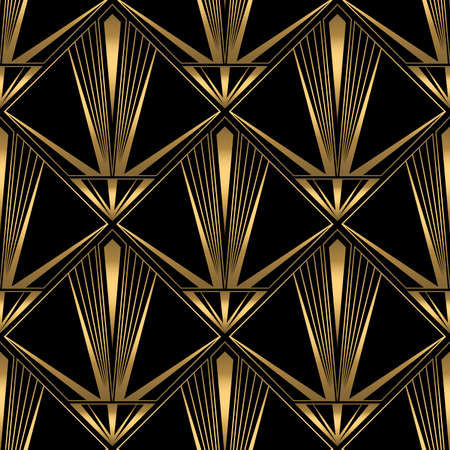 Art Deco Pattern. Vector gold black background