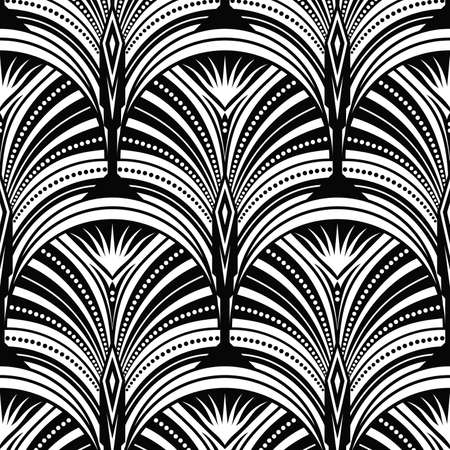 Art Deco pattern. Vector black white background 일러스트