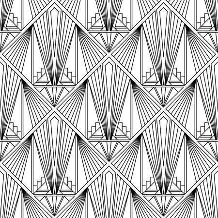 Art Deco pattern. Vector black white background 向量圖像