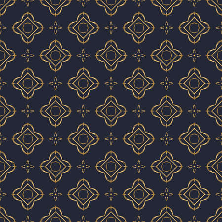 Swirl pattern. Seamless gold and navy blue ornament. 3D effect