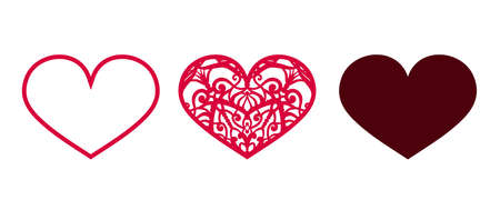 Valentine vector design elements. Hearts for laser cut Illusztráció