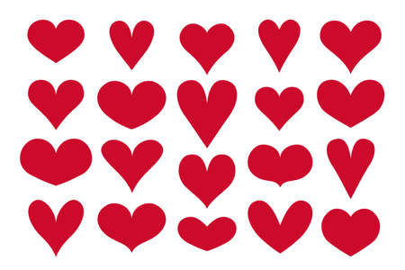 Hearts shapes vector. Valentines day icons set
