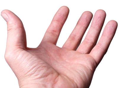 De handpalm biedt tot de hulp Stockfoto