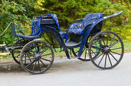 Old becoming blue the carriage for transportation of tourists on Dendro to park Uman photo