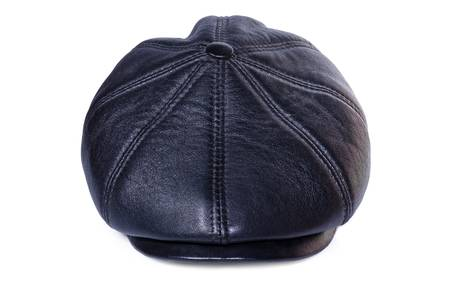 Leather cap close up on a white background Standard-Bild