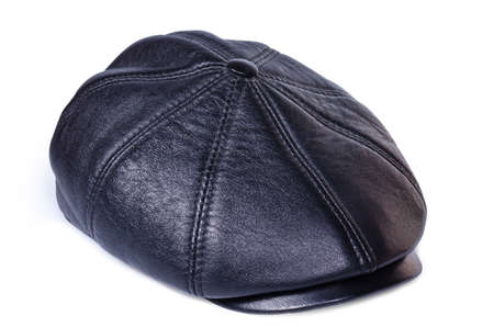 Leather cap close up on a white background photo