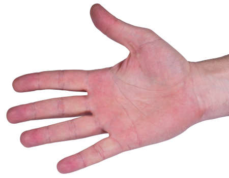 Open man's palm on a white background photo