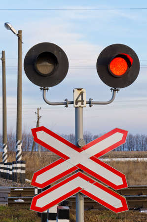 forbids: Railway semaphore forbids moving burns with the red Stock Photo