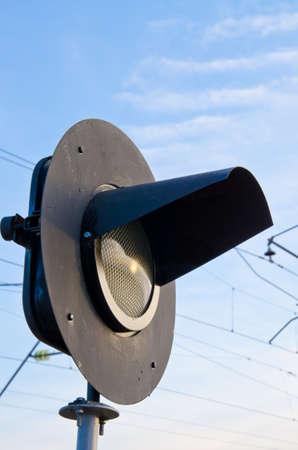 Railway semaphore against the blue sky sideways Stock Photo - 12011828