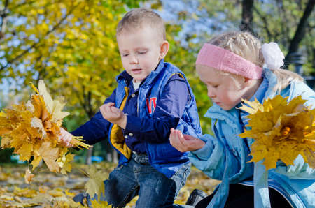 Young children playing with insects that they have found sheltering amongst the autumn leaves that they are collecting in the park photo