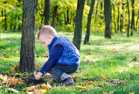 Little boy playing in lush woodland crouched on his haunches at the base of a tree with copyspace Stock Photo - 16140240