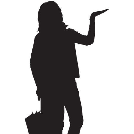Silhouette of a woman testing for rain Vector