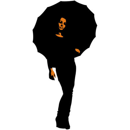 Silhouette of a woman under an umbrella Vector