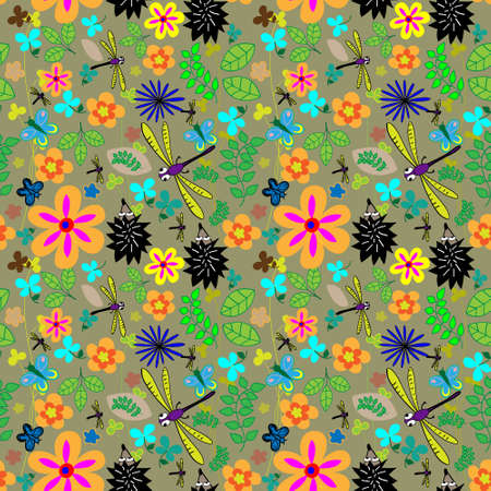 Butterflies and dragonflies floral pattern Vector