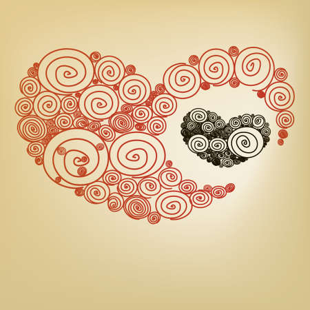 Red heart spiral Vector