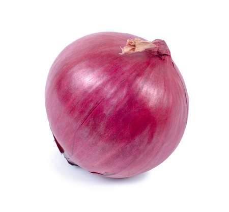 Fresh red onion on white background photo