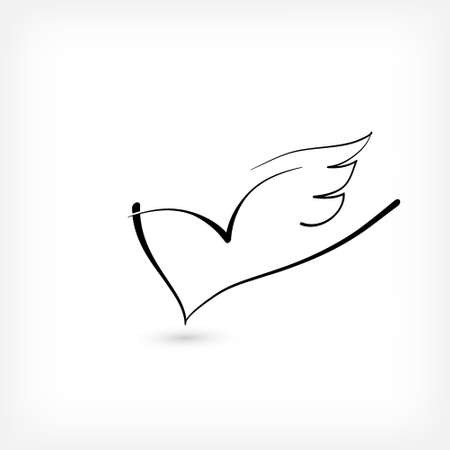 Heart with wings as a minimal logo for free love