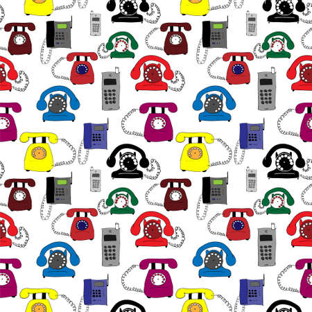 telephones: Illustration with different types of telephones