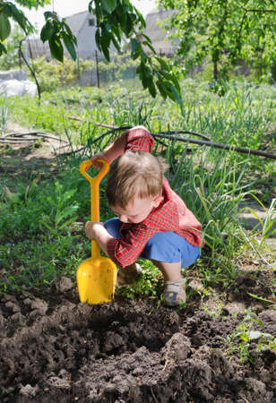 absorbed: Little boy planting vegetables digging in the veggie garden with his yellow plastic spade in the summer sun on a rural smallholding Stock Photo