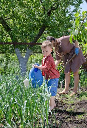 personas ayudando: Muchacho joven que riega la huerta de una gran regadera de plástico azul puede mientras su madre trabaja detrás de él escardar las plantas con una azada