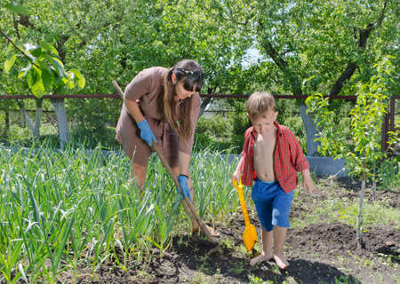 Little boy helping his mother in the garden as they work together in the summer sunshine weeding between the vegetable plants on the smallholding Stock Photo
