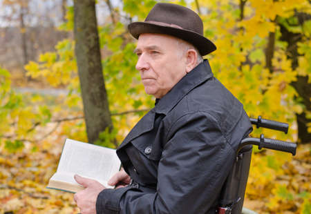 Pensive senior man sitting in a wheelchair reading outdoors in autumn under the colourful yellow trees staring off into the distance in contemplation