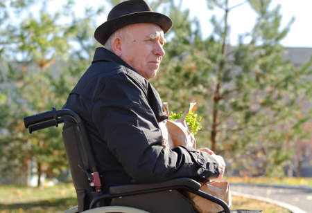 Elderly man in a wheelchair enjoying the sun sitting outdoors in a hat and overcoat with a bag of groceries on his lap Stock Photo - 23214934