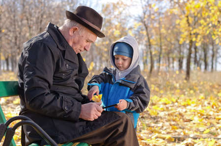 Elderly man with his grandson in the park sitting on a wooden bench smiling at something on a tablet computer that the youngster is pointing out to him photo