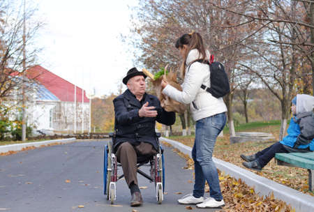 Mother helping her elderly disabled father in his wheelchair with his grocery shopping as her young son sits on the wooden park bench watching the two of them photo