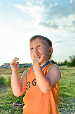 smiing: Young boy eating a stick of candy flass or cotton candy made from sticky spun sugar with obvious delight as he anticipates the next mouthful, standing in a rural environment backlit by the sun Stock Photo