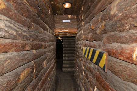 dungeons: Narrow interior passage in a log building lit by an overhead light with a chevron on the side emphasising the width
