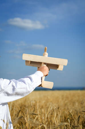 imagines: Little boy playing in farmland with a toy airplane holding it in the air in his hand as he imagines himself flying through the air, closeup from behind of his arm against a sunny blue sky
