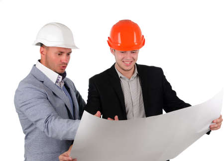 exclaiming: Two architects or builders having fun discussing a blueprint of a building exclaiming and laughing , isolated on white Stock Photo