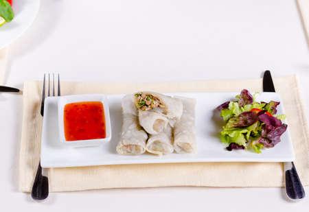 고기의: Close up Gourmet Healthy Meaty Spring Rolls with Fresh Veggies and Dip Sauce on White Rectangular Plate 스톡 사진