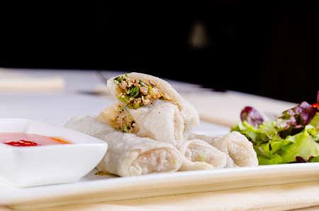고기의: Close up Gourmet Healthy Meaty Spring Rolls with Dipping Sauce on White Plate 스톡 사진