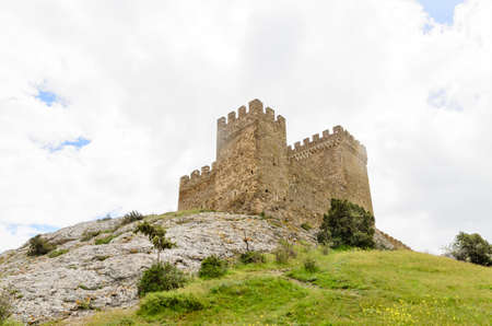 fortified: Historical fortified medieval castle on top of a hilltop on the skyline with crenelated ramparts against a cloudy sky