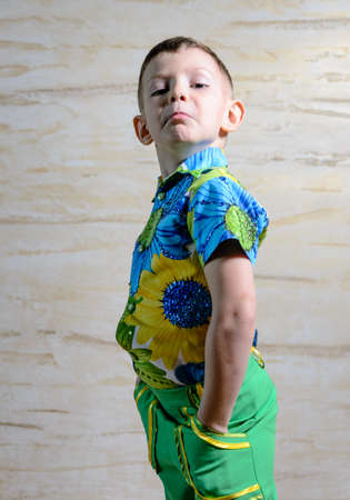 discriminating: Young Boy Wearing Colorful Floral Print Shirt Standing with Hands on Hips in Studio with Patterned Background, Looking Disapprovingly at Camera Stock Photo