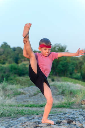 preteen boys: Supple young boy doing exercises standing on a rock in the garden balancing on one leg with the other raised up into the air above his head