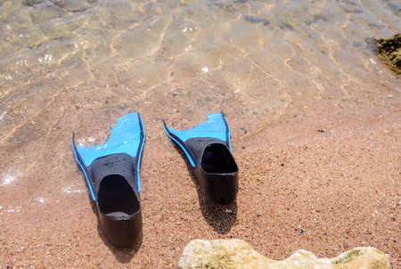 skin diving: Pair of flippers on a beach lying half embedded at the edge of the sea with the water lapping around them, conceptual of a tropical summer vacation