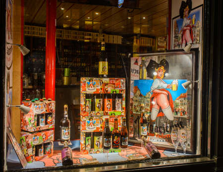 memento: France, Strasbourg - 29 October 2015:The original shop selling beer  Lady without panties