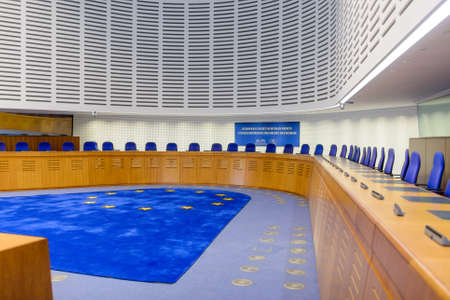 assembly hall: France, Strasbourg - 29 October 2015:The European Court of Human Rights in Strasbourg, eastern France, Interior
