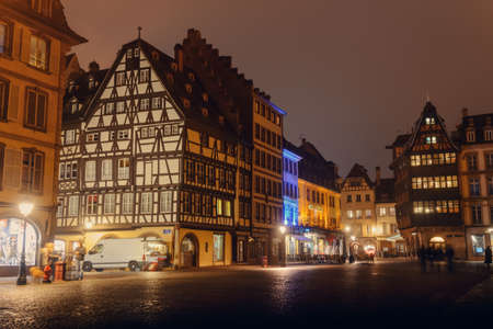 after hours: France, Strsburg-30 October 2015:City at night , illuminated by a historic building on the town square