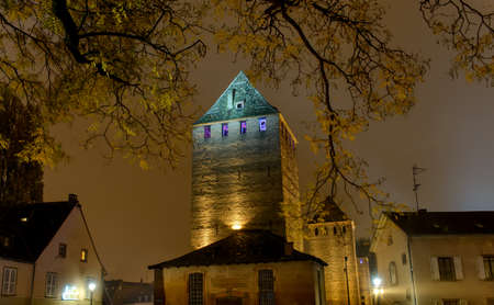 after hours: Branch of yellow leaves of a tree on the background of the historic tower illuminated the night lights of the city Stock Photo
