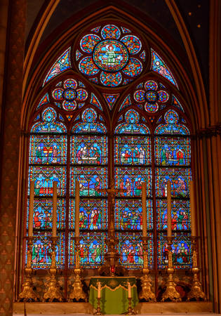 roped off: PARIS, FRANCE - October 28, 2015:The interior of Notre-Dame Cathedral in Paris. Scenes from the life of Jesus Christ