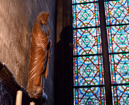 roped off: France, Paris 28 October 2015: Interior view of Notre-Dame Cathedral, a historic Catholic cathedral considered to be one of the finest examples of French Gothic architecture in Paris, France