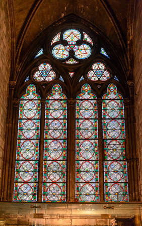 roped: France, Paris 28 October 2015: Interior view of Notre-Dame Cathedral, a historic Catholic cathedral considered to be one of the finest examples of French Gothic architecture in Paris, France