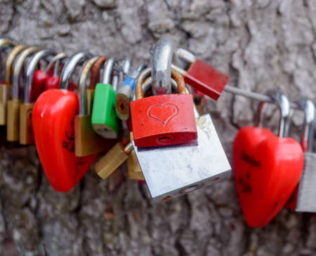 padlocked: Colorful group of love locks padlocked to a cable symbolic of undying love between partners, a new trend amongst tourists considered vandalism by town authorities