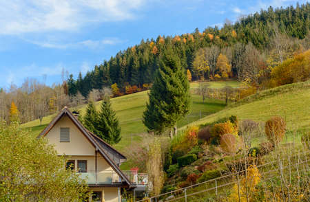 farmhouses: Landscape of autumn countryside with wooden farmhouses on green hill and mountains in the background,Germany