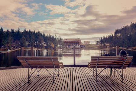 timberland: View from a height at the wooden pier and cozy bench on a background of the beautiful lake and forest at sunny day.Panoramic view Lakes.Germany.Europe. Stock Photo